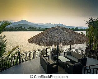 dek, kampot, azie, banken, ondergaande zon , cambodja, rivieroever, aanzicht
