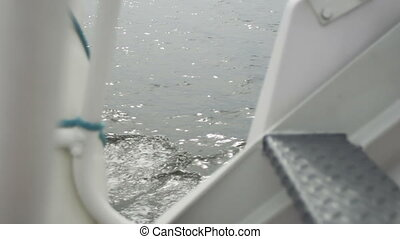 dek, scheeps , aanzicht, op, water