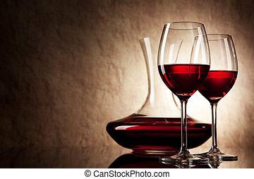 dekantieren, mit, rotwein, und, glas