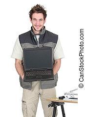 dekarz, ekran, młody, dzierżawa, czysty, laptop