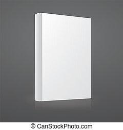 dekking, template., vector, leeg, witte , boek
