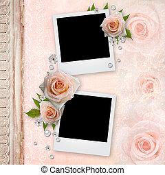 dekking, voor, een, album, met, lijstjes, voor, foto's, en, rozen