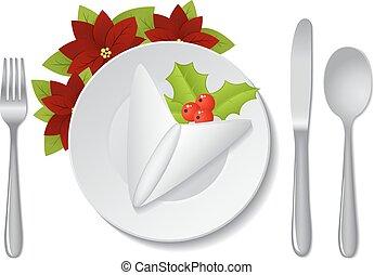 dekoráció, asztal, karácsony