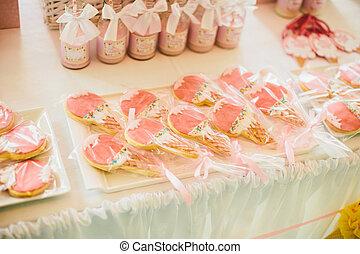 dekoráció, asztal, születésnap