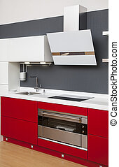 dekoráció, belső, modern, piros, konyha