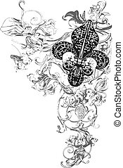 dekoráció, ellen-, fleur, lis