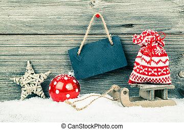 dekoráció, fából való, felett, karácsony, háttér
