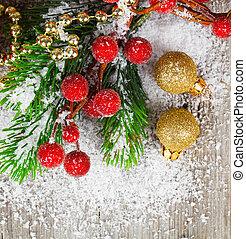 dekoráció, fából való, felett, karácsony, háttér.