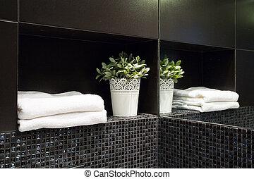 dekoráció, fürdőszoba, modern