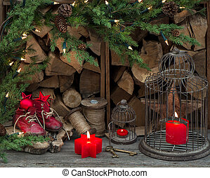 dekoráció, gyertya, karácsony, égető, piros