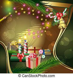 dekoráció, gyertya, karácsony