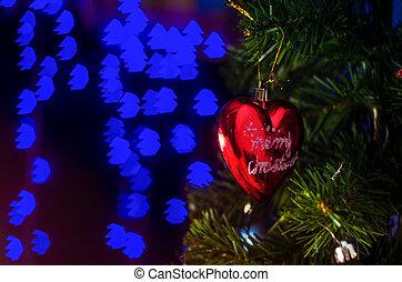 dekoráció, háttér., bokeh, karácsony, elmosódott