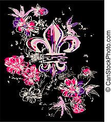 dekoráció, jelkép, virág, királyi, elképzel