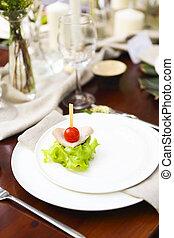 dekoráció, közül, esküvő, asztal, a kertben