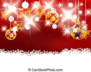 dekoráció, karácsony, piros, elhomályosít