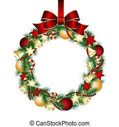 dekoráció, koszorú, karácsony