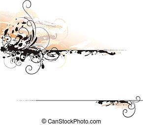 dekoráció, levél, háttér, tinta