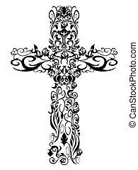 dekoráció, motívum, keresztény, tervezés, kereszt