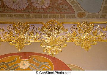 dekoráció, plafon, palota