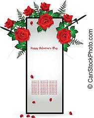 dekoráció, rózsa, keret, piros