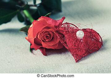 dekoráció, rózsa, szív