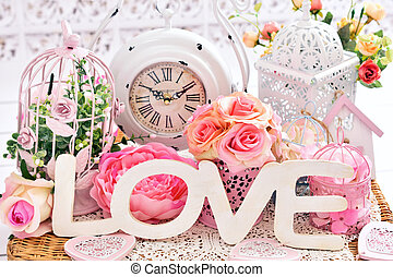 dekoráció, sikk, szeret, romantikus, kopott
