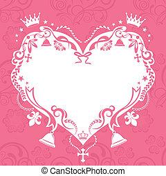dekoráció, szív, keret, seamless