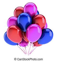 dekoráció, születésnapi parti, léggömb, kék, bíbor, piros