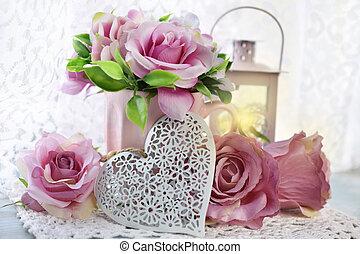 dekoráció, vagy, valentines, romantikus, esküvő