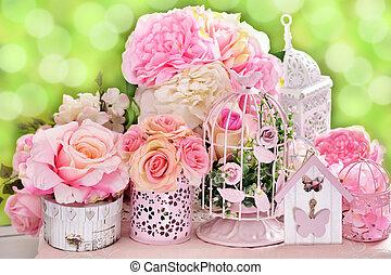 dekoráció, virág, romantikus, esküvő