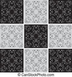 dekor, elemente, ornates, vektor, white., blumen-