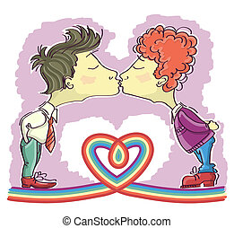 dekor, gay, kissing.vector, bild, freigestellt, paare,...