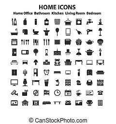 dekor hemma, sätta, ikon, möblemang