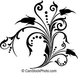dekor, illustration, vektor, rulla, cartouche