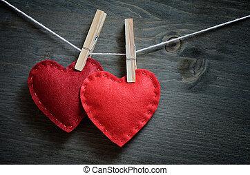 dekoracje, dzień, valentine