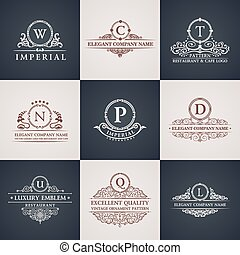 dekoracje, elements., próbka, set., ozdoba, calligraphic, elegancki, luksus, rocznik wina, logo