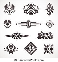 dekoracje, elementy, &, strona, wektor, projektować, książka