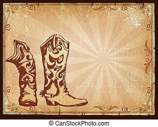 dekoracje, stary, kowboj, tekst, ułożyć, papier, tło