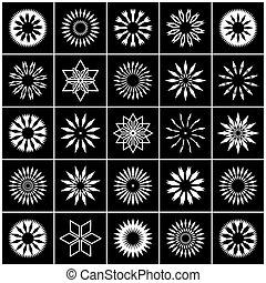 dekoracyjne elementy, set., icons., projektować, abstrakcyjny