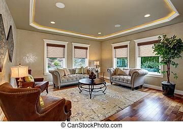 dekoracyjny, żyjący, rug., pokój, doskonały