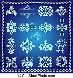 dekoracyjny, błękitny, elementy, projektować