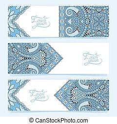 dekoracyjny, błękitny, komplet, barwa, trzy, poziome chorągwie