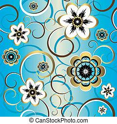 dekoracyjny, błękitny, (vector), próbka, seamless, kwiatowy