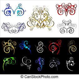 dekoracyjny, barwny, brzeg, elementy