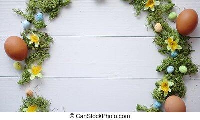 dekoracyjny, barwny, drewniany, jaja, wieniec, tło, stół,...