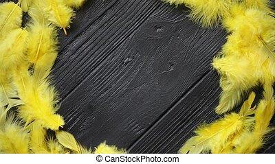 dekoracyjny, barwny, drewniany, wieniec, czarne tło, stół,...