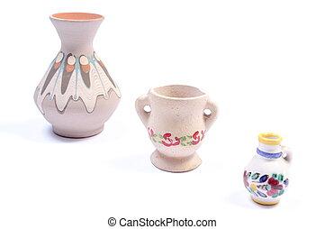 dekoracyjny, ceramiczny, wazony, odizolowany, na białym, tło