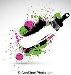 dekoracyjny, czuć się, używany, sztuka, illustration., barwny, robiony, instrument, plama, może, rysunek, temat, graficzny, szczotka, tło, grunge, design., renowacja, brushstrokes., ręka-barwiona