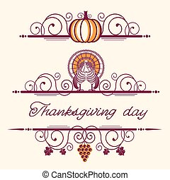 dekoracyjny, dekoracje, winiety, dziękczynienie, święto, szczęśliwy