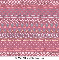 dekoracyjny, dekoracyjny, kolor, próbka, seamless, tekstylny, tło., vector., etniczny, pasiasty, krajowiec, bez końca